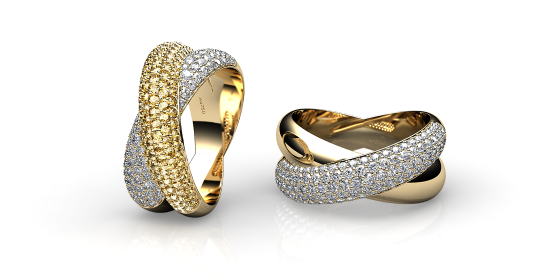 Link. 18k yellow gold pave ring