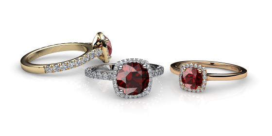 Grace. Almandine garnet diamond halo ring