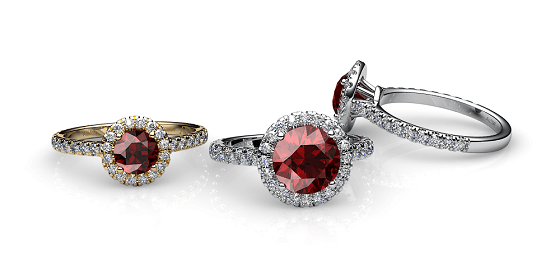 Tenderness. Almandine garnet diamond halo ring