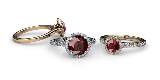 Grace. Almandine garnet diamond round halo ring