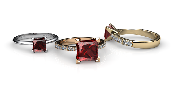 Betelgeuse. Princess cut almandine garnet solitaire ring