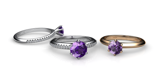 Stella. 6 prongs solitaire amethyst ring