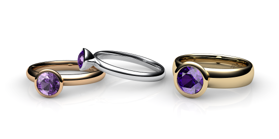 Melody. Bezel set amethyst ring