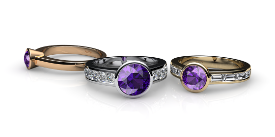 Venice. Bezel set amethyst ring