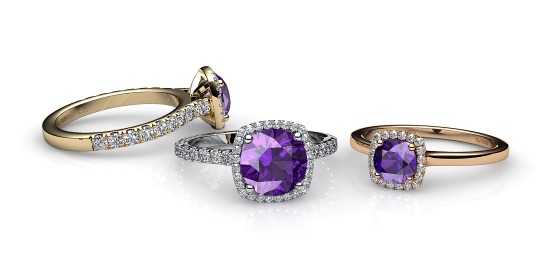 Grace. Amethyst diamond halo ring