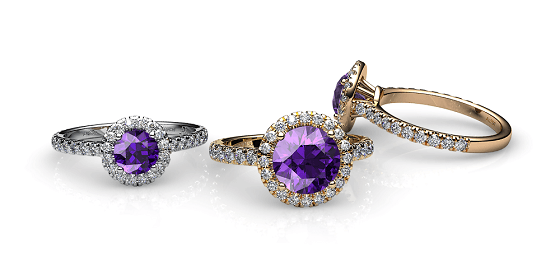 Tenderness. Amethyst diamond halo ring