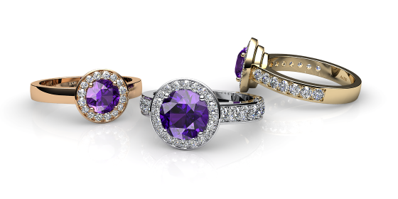 Violet. Amethyst and diamonds pave ring