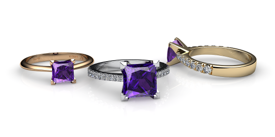 Betelgeuse. Princess cut amethyst solitaire ring
