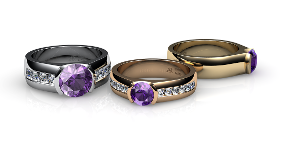 Constance. Semi-bezel set amethyst ring