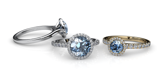 Grace. Aquamarine diamond round halo ring