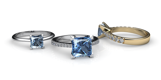 Betelgeuse. Princess cut aquamarine solitaire ring