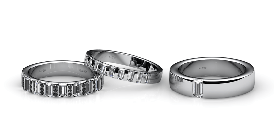 Zayane. Baguette diamonds white gold wedding ring