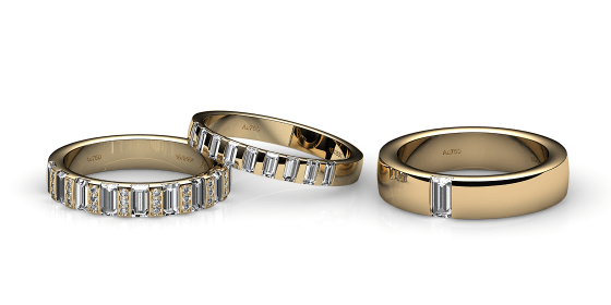 Zayane. Baguette diamonds yellow gold wedding ring