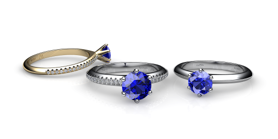Stella. 6 prongs solitaire blue sapphire ring