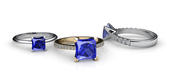 Betelgeuse. Princess cut blue sapphire solitaire ring