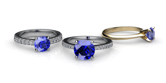 Betelgeuse. Prong-set blue sapphire solitaire ring