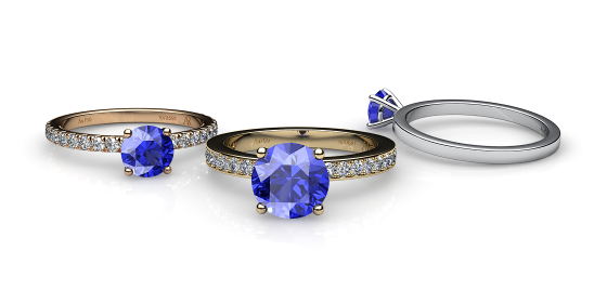Iris. Prong-set blue sapphire solitaire ring