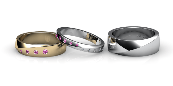 Fusion. Burnish-set pink sapphire wedding ring