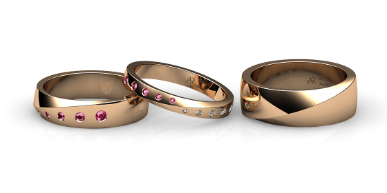 Fusion. Burnish-set rose gold wedding ring