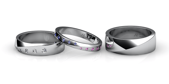 Fusion. Burnish-set white gold wedding ring