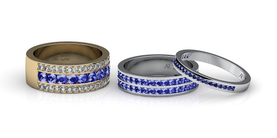 Venice. Channel-set blue sapphire wedding ring