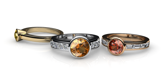 Venice. Bezel set citrine ring