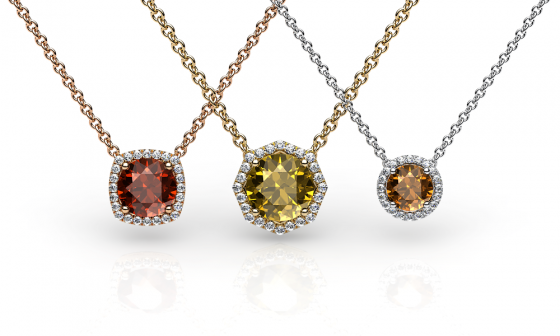 Grace. Diamond halo citrine pendant