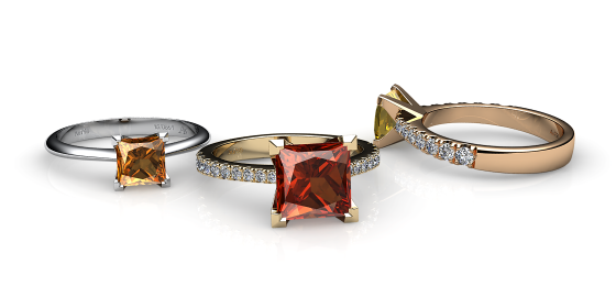 Betelgeuse. Princess cut citrine solitaire ring