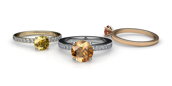 Iris. Prong-set citrine solitaire ring