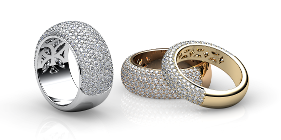 Silky. White gold diamond pave ring