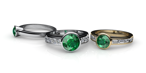 Venice. Bezel set emerald ring