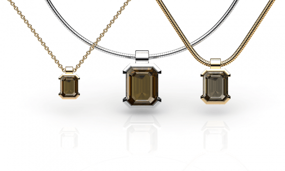 Constance. Emerald cut smoky quartz pendant