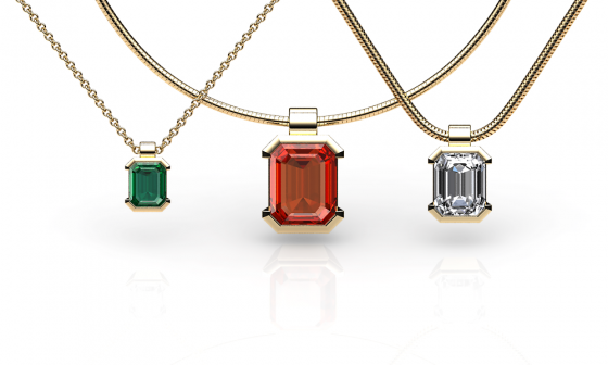 Constance. Emerald cut yellow gold pendant