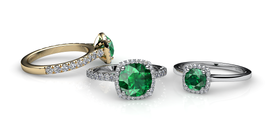 Grace. Emerald diamond halo ring