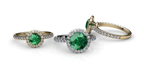 Tenderness. Emerald diamond halo ring