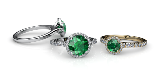 Grace. Emerald diamond round halo ring