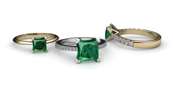 Betelgeuse. Princess cut emerald solitaire ring