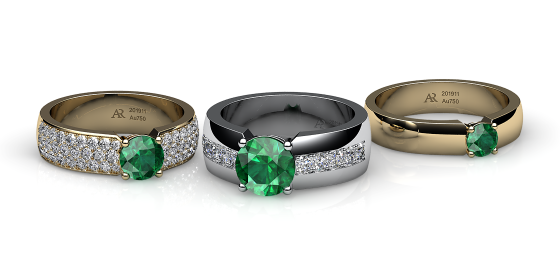 Galatea. Prongs-set emerald ring