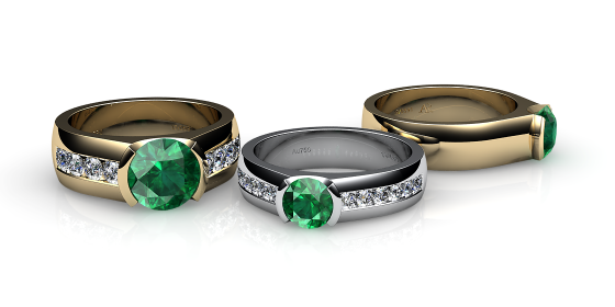 Constance. Semi-bezel set emerald ring