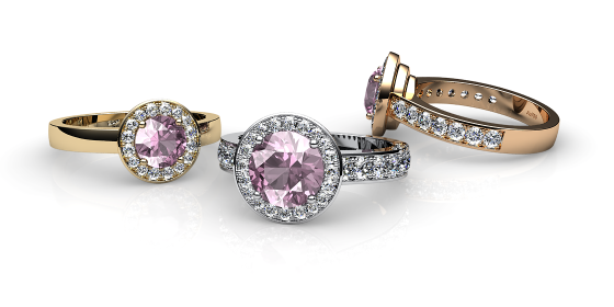 Violet. Morganite and diamonds pave ring