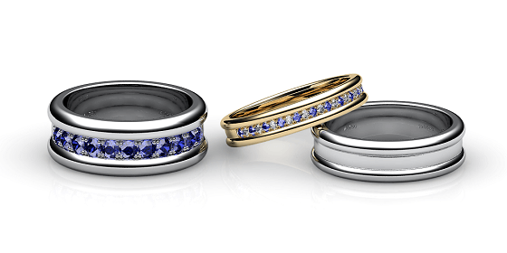 Florence. Pave-set blue sapphire wedding ring