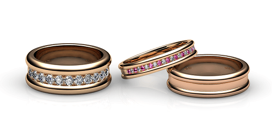 Florence. Pave-set rose gold wedding ring