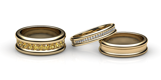 Florence. Pave-set yellow gold wedding ring