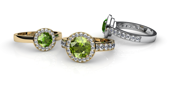 Violet. Peridot and diamonds pave ring