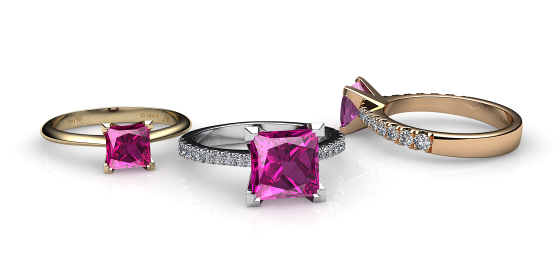 Betelgeuse. Princess cut pink sapphire solitaire ring