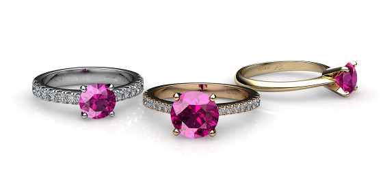 Betelgeuse. Prong-set pink sapphire solitaire ring