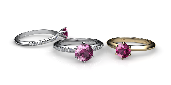 Stella. 6 prongs solitaire pink tourmaline ring