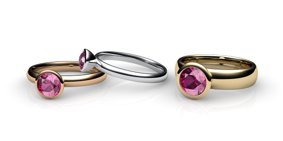 Melody. Bezel set pink tourmaline ring