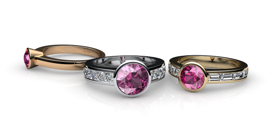 Venice. Bezel set pink tourmaline ring