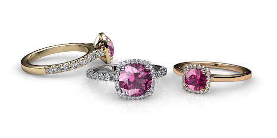 Grace. Pink tourmaline diamond halo ring